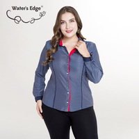 Water S Edge New Design Plus Size Women Shirts Plaid Turn Down Long Sleeve Office Work
