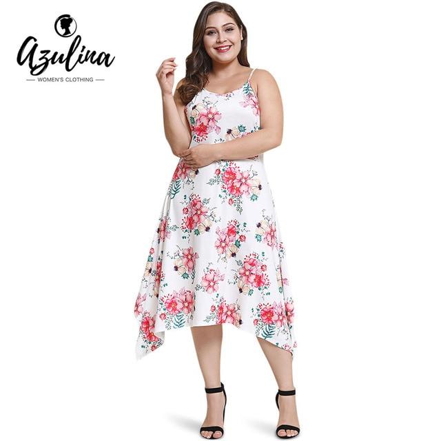 AZULINA Plus Size Spaghetti Strap Sleeveless Floral Print Asymmetric Slip Dress  Women Dresses Summer Cami Dress 32e813abec42