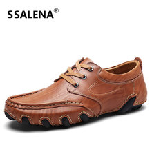 Men Comfortable Casual Leather Shoes Fashion Lace Up Loafers Flats Shoes Business Wear Resistant Moccasins Shoes AA11640