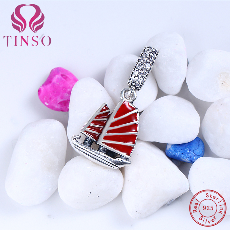 Authentic 100% 925 Sterling Silver Red Sailing Ship CZ Charm Bead Fit Original Pandora Charm Bracelet 925 Silver Jewelry
