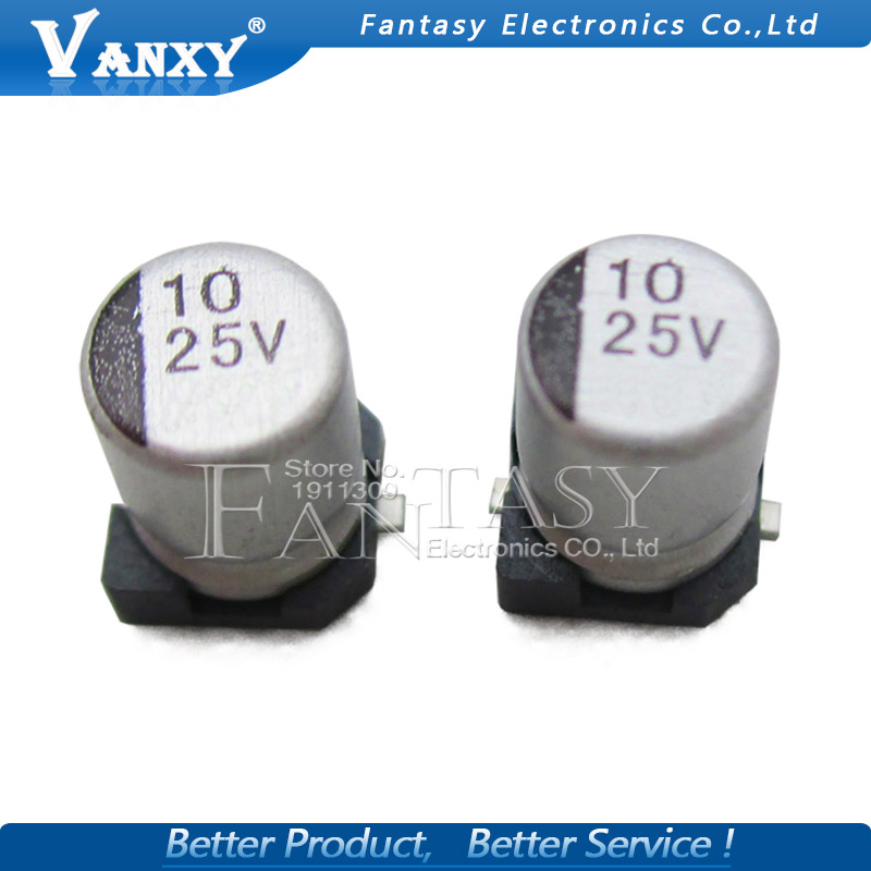10PCS Electrolytic Capacitor 25V10UF 4*5.5mm SMD Aluminum Electrolytic Capacitor 10uf 25v
