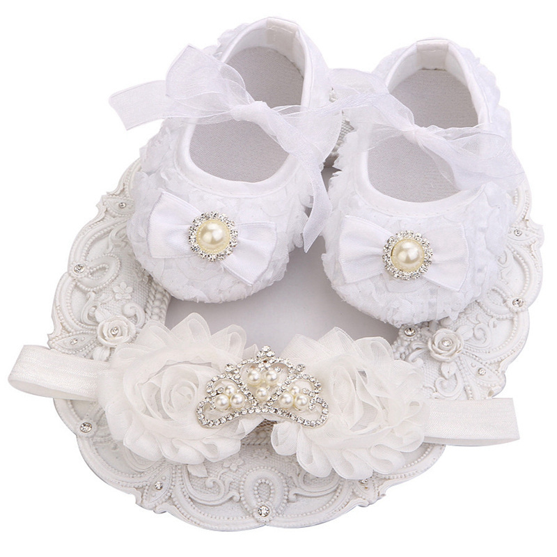 65c9ff5c86232 Baby Girl Flower& Pearl White Christening Shoes Footwear Pearl Headband Set New  Baby Shoes
