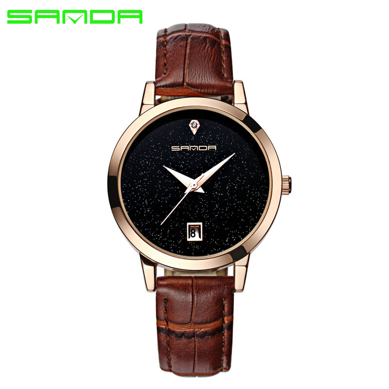 2016 Luxury Women's watches Fashion Quartz watch Waterproof Woman watches Brand Relojes Hombre Leather Relogios masculinos