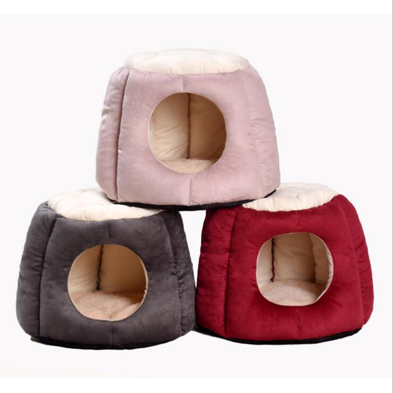 Foldable Home Pet Dog Bed Cat Puppy Winter Warm Dog House Nest With Mat Breathable Chihuahua Cat Beds Mat Cushion
