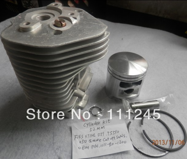 CYLINDER KIT 52MM FOR ST. CHOP SAW TS510 TS50 AV 050 051 Q /QR CONCRETE CUT OFF ZYLINDER HEAD PISTON ASS RING CLIP PIN ASSEMBLY cylinder kit 51mm for chainsaw 570 575 xp epa chain saw zylinder kolben piston ring pin clip assembly 537 25 41 02