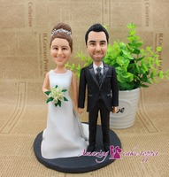 2019 Top Holiday Decoration Custom Figurine From Photo with Polymer Clay Hard Permanent Memory for Wedding Cake Topper