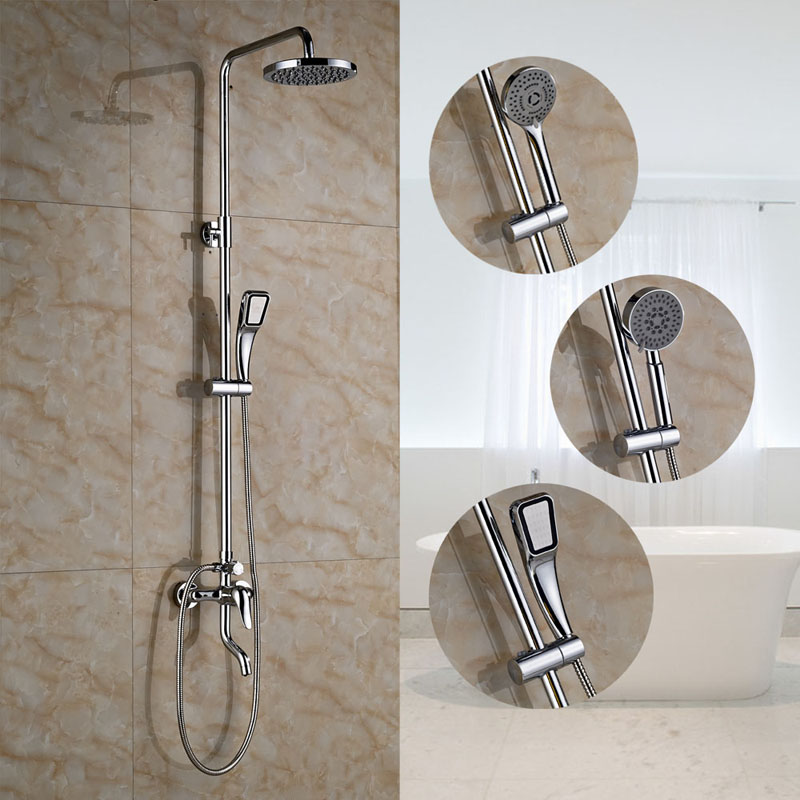 Wall Mounted 8 Inch Round Shower Head + Hand Shower + Shower Hose Chrome Finished shower hose sea pioneer 1 5m anti explosion stainless steel shower hose with solid brass