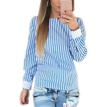 Novelty Striped Blouses Women Sexy Bowknot Backless Shirts Long Sleeve O neck Blouse Women Bandage Tops Plus Size Female M0132