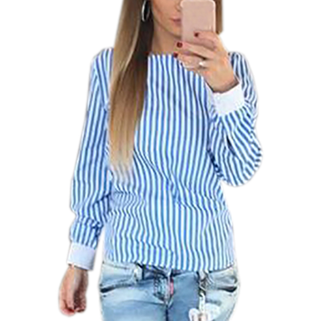 Sexy Striped Bowknot Backless Blouse