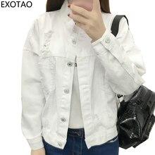 EXOTAO Harajuku Denim Jacket White Coat Female Single-breasted Ripped Female Jacket Casual Long Sleeve Women's Denim Jacket