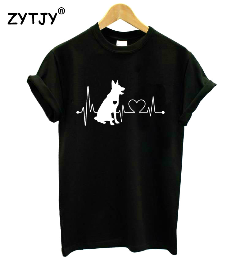 German Shepherd Dog Heartbeat Print Women T Shirt Cotton Casual Funny Shirt For Lady Top Tee Tumblr Hipster Drop Ship NEW-77