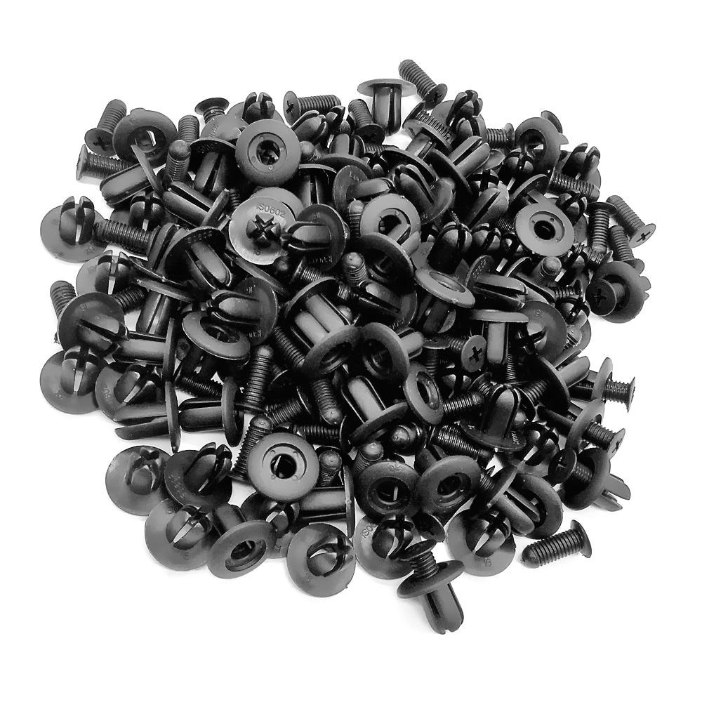100 unids 8mm Agujero Puerta Remache Empujar Clip Negro Coches - Accesorios de interior de coche - foto 5