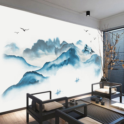 70*130cm Chinese Style Landscape Painting PVC Wall Sticker DIY Mountain Vintage Poster Office Study Room Decoration Stickers