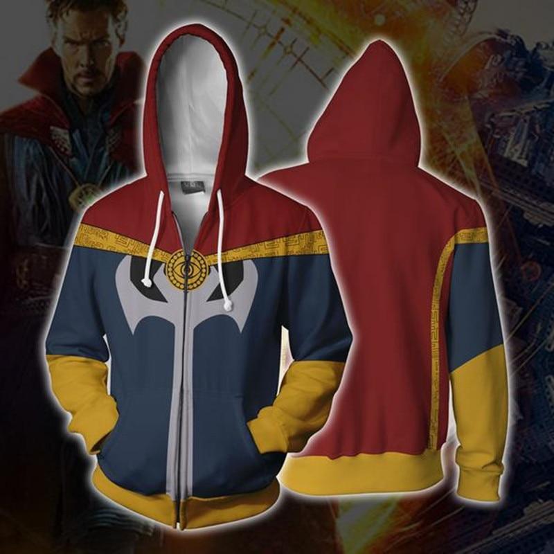 Doctor Strange Cosplay Zip Up Hoodie 3D Print Sweatshirt Jackets Casual Sweatshirts Coats