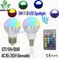 2016 Novo RGB Lâmpada LED E27 E14 5 W CONDUZIU a Luz Da Lâmpada Led novidades Spot light Bulb 16 Alterar Cor Dimmable Lampada levou 110 v 220 v