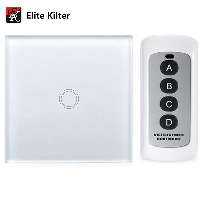 Elite Kilter Touch Switch 1 Gang 1 Way Remote Control EU/UK Standard Crystal Glass Panel elite kilter remote control touch switch 3 gang 1 way eu uk standard crystal glass panel smart touch wall light switch