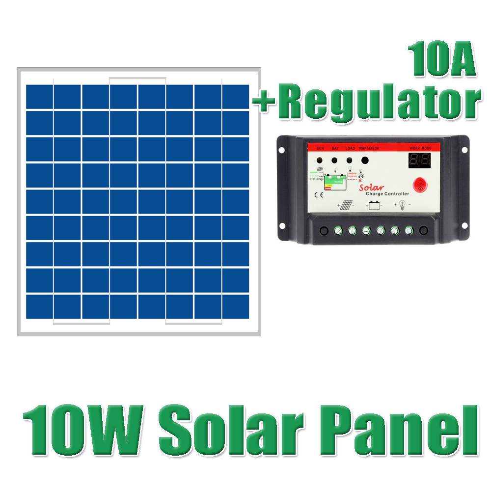 ФОТО 10W Solar Panels + 10A 12V 24V Solar Controller 18V 10watt Solar PV cell panels module charger regulator 12V battery WY