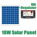 10W Solar Panels + 10A 12V 24V Solar Controller 18V 10watt Solar PV cell panels module charger regulator 12V battery