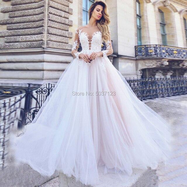 خط اللؤلؤ الوردي كم طويل فساتين الزفاف العميق الخامس الرقبة زر طول الأرض ثوب زفاف الزفاف Vestido De Noiva حجم كبير