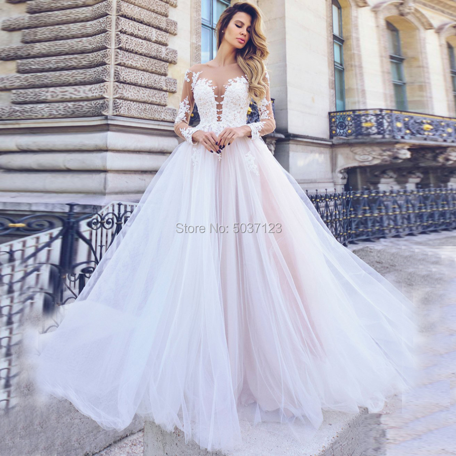 A Line Long Sleeves Wedding Dresses Deep V Neck Button Illusion Floor Length Bridal Wedding Gown Vestido De Noiva Plus Size