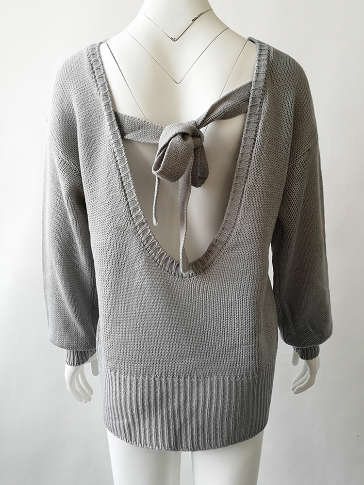 Sweet Backless Bowknot Lantern Long Sleeve Pullover Sweater 7