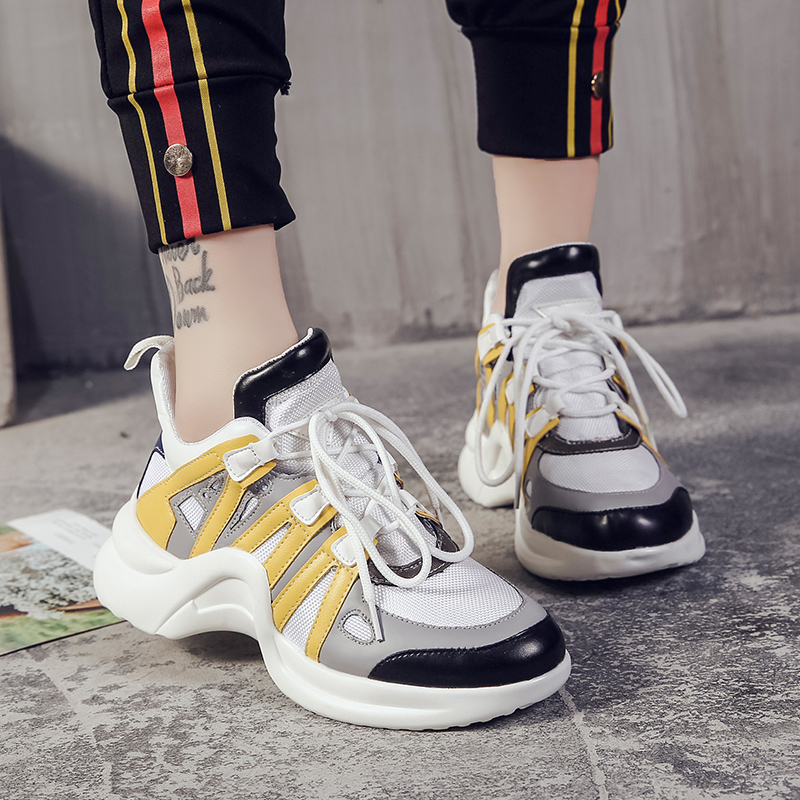 Chowaring Brand 2018 Autumn New Women's Casual Shoes Flats Fashion Lace Up Hidden Heel Yellow Blue ARCHLIGHT Women Sneakers cloth camouflage lace up hidden heel womens sneakers