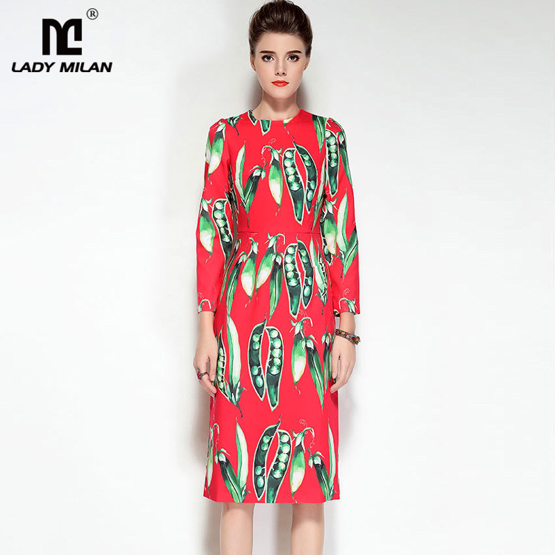 New Arrival Womens O Neck Long Sleeves Printed High Street Fashion Mid Calf Pencil Dresses