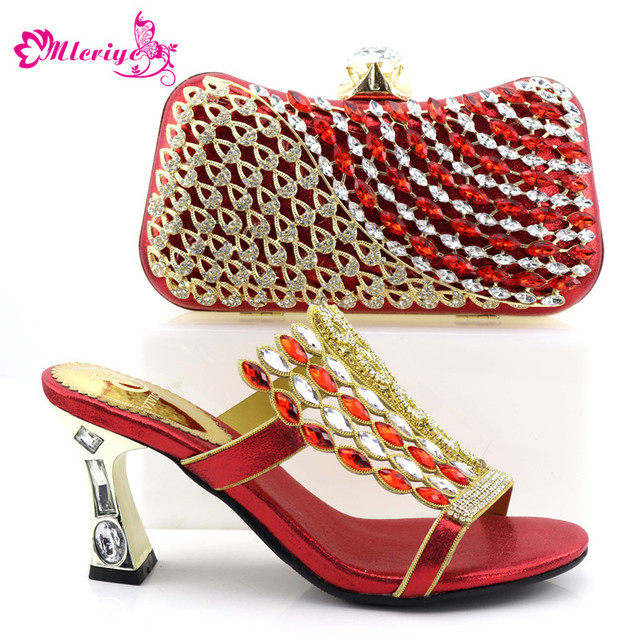 0857-gold New Arrival Women Shoes and Bags To Match Set Italy Shoe and Bag for Nigeria Party Nigerian Women Wedding Shoes/Bags