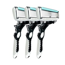 3Pcs Men Safety Traditional Classic 6 Layers Shaving Hair Blade Razor Manual Stainless Steel Shaving Hair Blade