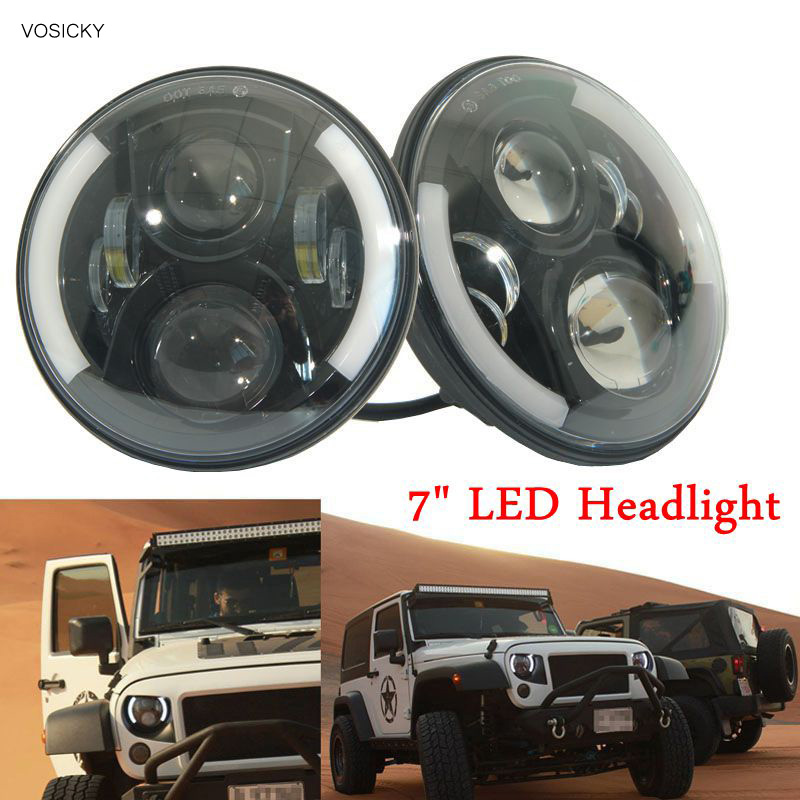 7 Inch 60W Round LED Headlight halo Daymaker DRL H4 H13 Angel Eyes For Jeep Wrangler JK CJ TJ LJ DRL 4x4 2 demon eyes 12v 35w 7 inch cob halo hid xenon led headlight headlamp with demon eyes drl canbus ballast for jeeep wrangler 07 15