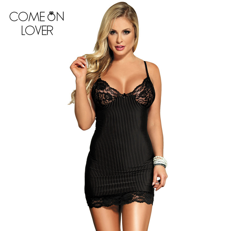 Comeonlover Striped plus size 6XL sleepwear summer style v neck lady black lingerie sexy strappy lace nightdress lenceria RE7391