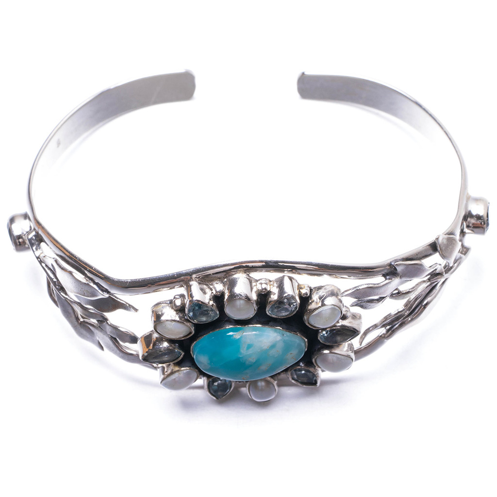 Natural Caribbean Larimar,Mother Of Pearl and Blue Topaz Unique 925 Sterling Silver Bracelet 6 Y2041