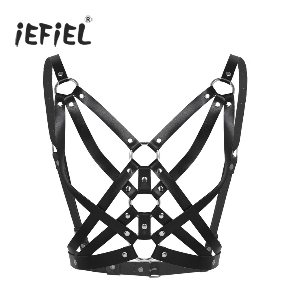 Fashion Women Adjustable Faux Leather Rivet Metal O-rings Gothic Chest Bust Harness Belt Strappy Body Caged Bra Bondage