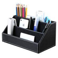 Bureau à domicile en bois construction en cuir multi fonction bureau papeterie organisateur boîte de rangement, stylo/crayon, téléphone portable, affaires Na