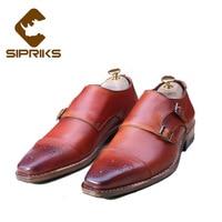 5d8da7f89e3fb5 Sipriks Italien Main Cousu Goodyear Chaussures Pour Hommes Double Moine  Sangle Chaussures Rouge Brun Formelle Smoking