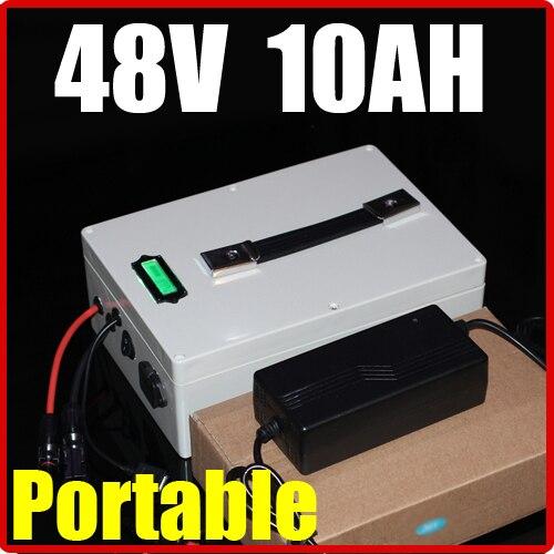 Přenosná multifunkční lithiová baterie 48 V 10AH, 54,6 V 500 W Elektrické kolo Solární baterie Scooter