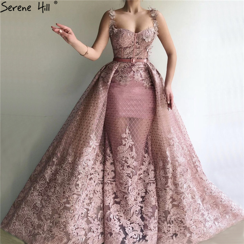 Pink Sleeveless Handmade Flowers Evening Dresses 2019 Dubai Mermaid Sexy Long Evening Gowns Serene Hill LA60991