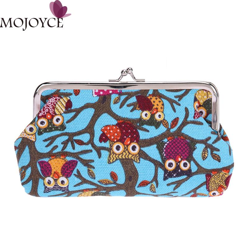 Wallet Coin Bag Printing Owl Canvas Change Purse Clutch Bag Cartoon Handbag Cartoon Card Holder Clutch Bag Small Purse Female women mini owl bird flower wallet card holder case coin purse clutch handbag bag