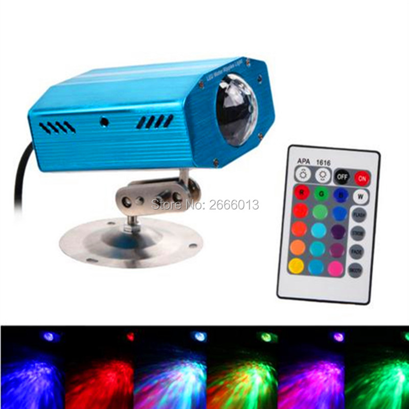 Niugul New Arrival Remote 7 colours LED Water Wave Ripple Effect Stage Light Lamp Music Auto home Party DJ background Projector  delta dl 0715 silver black