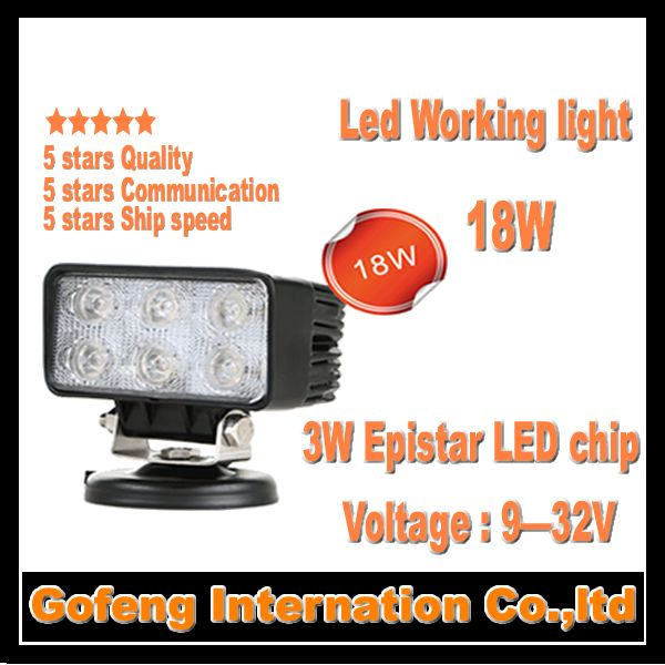 1PCS/LOT 2014 new arrival DC10-30V IP67 car working light led 18w flood Beam Offroad Truck epistar chip lamp free shipping