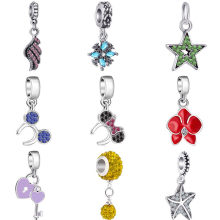 New Arrival Crystal Star Wing Starfish Key Arrow Flower Mickey Bead Fit Pandora Charms Bracelets for Women DIY Bijoux Jewelry(China)