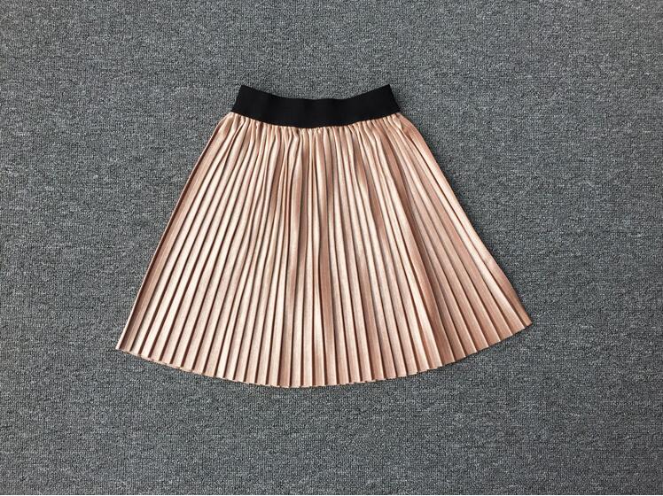 New velvet pleated skirt knee long girls skirt summer winter casual smooth skirt girl tutu high waist elastic pleated skirt 3