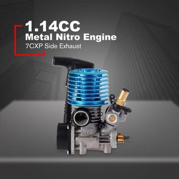 1.14CC 7CXP Lato Di Scarico In Metallo Nitro Motore A Mano Avviamento A Strappo Per 1/16 Bilancia RC Modello Da Corsa Buggy Auto Camion 31000 Rpm