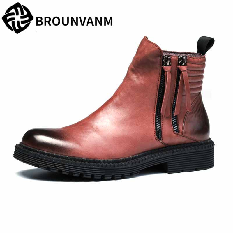 Martin boots men autumn winter British retro Martin boots male high top shoes men's Chelsea boots all-match cowhide breathable