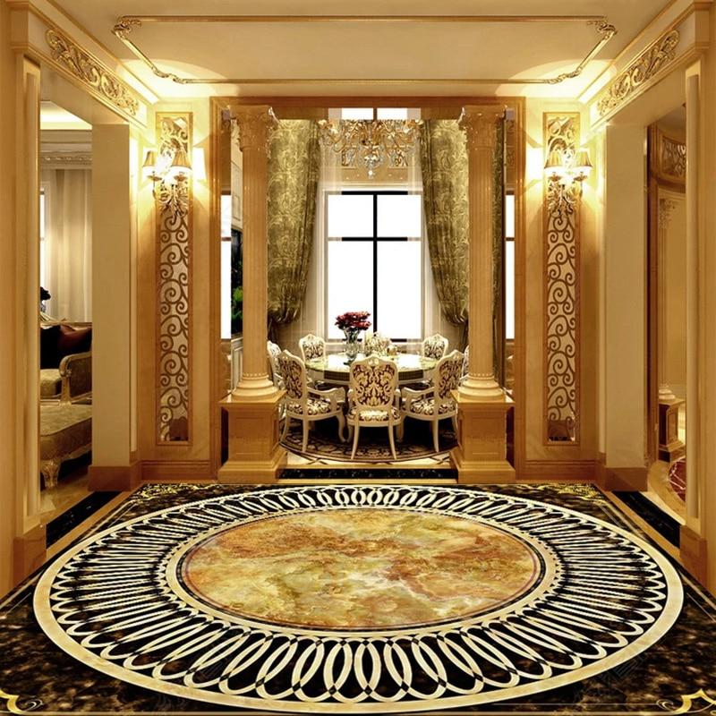 На заказ любой размер пол обои 3D мраморная плитка пол ПВХ обои европейский стиль Роскошный Отель гостиная домашний декор|Обои|   | АлиЭкспресс
