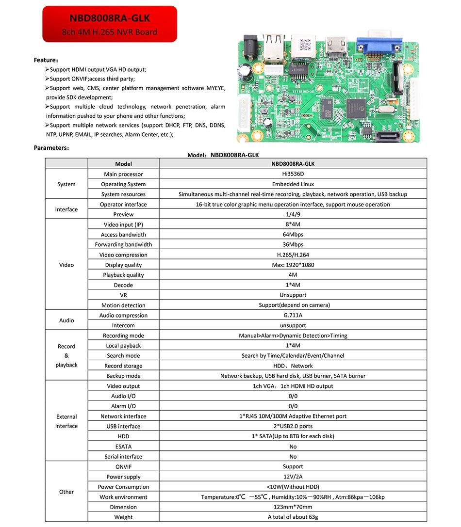 8ch*4 0MP /4ch*5 0MP/8ch*1080P H 265/H 264 NVR Network Vidoe Recorder DVR  Board IP Camera with SATA Line ONVIF CMS XMEYE