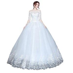 Image 5 - ウェディングドレスの花嫁プラスサイズレースアップウェディングドレス新ボール成長ドレス王女