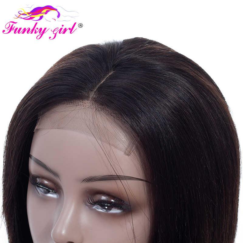 Funky Girl 4*4 причёска Боб с прямыми волосами фронта шнурка человеческих волос парики для черных женщин бразильские не Реми волосы парик шнурка с волосами младенца