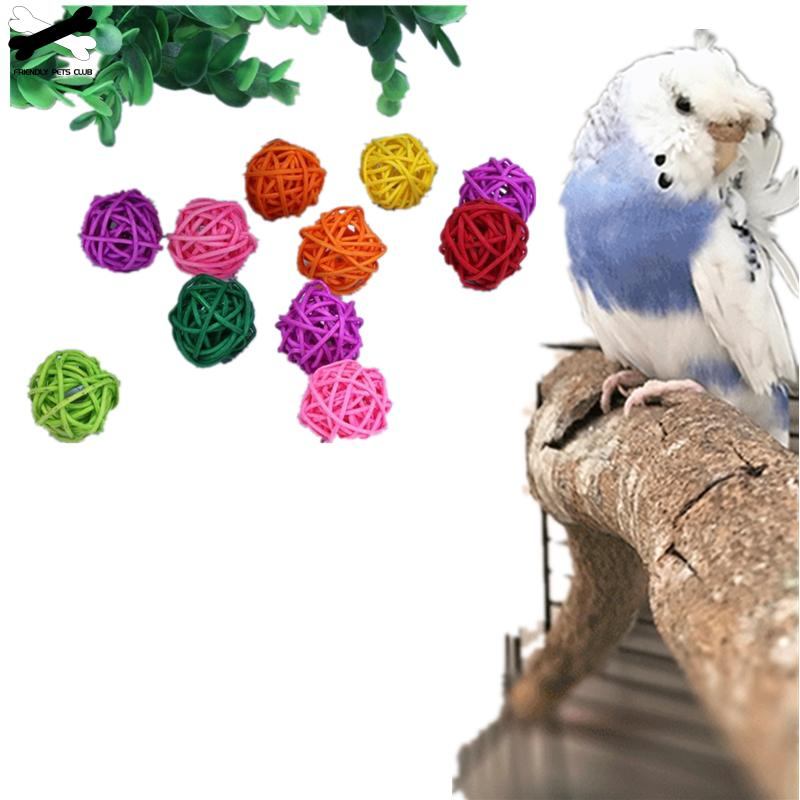Parrot Rattan Ball Toys Bird Interactive Chewing Grind Toys Birdcage Decor Funny font b Pet b