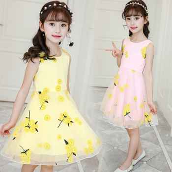 2018 Summer Style Flower Girls Dress Toddlers Teen Children Princess Clothing Fashion Kids Party Clothes Sleeveless Dresses 2